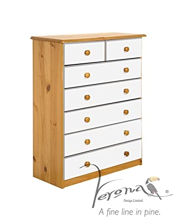 Verona Design Verona Chest Of Drawers, Solid Antique Pine Wood Finish With White Drawer Front