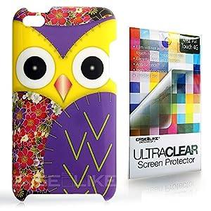 CASEiLIKE ® - Owl-Grafik-Design - gelb - Snap on Back Cover Gehäuse für Apple 4G Touch / iPod Touch 4.Generation - mit Displayschutzfolie 1pcs.