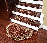 Dean Tape Free Pet Friendly Non-skid Stair Gripper Premium Carpet Stair Treads - Classic Keshan Claret Red 31