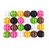 yueton 24pcs Colorful Three Hole Desktop Wire Cord Cable Clip Management Cable Organizer Cord Holder