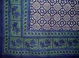 Mansingh Block Print Tapestry-Bedspread-Blue-Twin