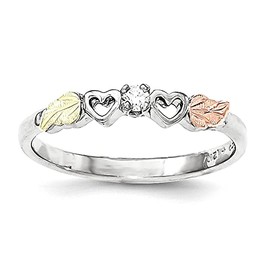 Sterling Silver & 12k Heart Diamond Ring