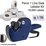 Perco 1 Line Date Label Gun Kit: Includes 8 Digits Date Gun Labeler, 10,000 Plain White Labels, and Preloaded Inker (Color: 1 Line Date Labeler Kit, Tamaño: 1 Line Labeler Kits)