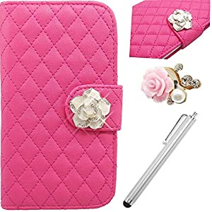 Vandot 3In1 Set 3D Lusso Accessori Flip Folio Pelle PU Book Wallet Cuoio Custodia Case Cover Indietro Shell Skin Per Caso Astuto Telefono Apple iPhone 6 4.7 Zoll Bella Premium Quality Borsa Bag Copertura Rhinestone Bling Shinning Crystal Strass Sacchetto Caso Dell&unitÀ Di Elaborazione Smartphone Scintillio Falso Artificial Leather Diamante Protection Protector Protettiva Magnetico Closure Chiusura Cristallo Diamand Cassa Mobile Signora Fashion Glittering Modern Girl Stile Style Design+1x Metallo Tocco Penna Stylus Touch Screen Capacitivo Stilo+1x 3,5 mm Anti Spina Polvere Anti Dust Plug AntiDust Strass Tappi Polvere Earphone Jack Headphones Headset  Chiaro Quilted padding Fiore Credit Card Slots Ciondolo Per Cellulare Portafoglio Cuoio Donna Handmade Fatto a Fano Colorful (Hot Pink)  Auto e Moto recensione Voto