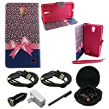 Mstechcorp - Samsung Galaxy Mega 2 Case - Wallet Bookfold Flip Case (Carry All Series) Folio ID Holder Pouch - Includes [Car Charger + Data Cable] + [Wall Charger + Data Cable] + [Touch Screen Stylus] + [Hands Free Earphone With Carrying Case] (CHEETAH)