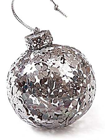 Plumeria Silver Metal Christmas Ball Ornament by Island Heritage