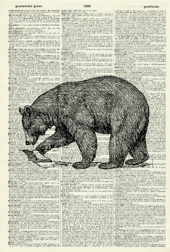 ART PRINT -BEAR - Vintage Dictionary Art Print - Wall Hanging 183D
