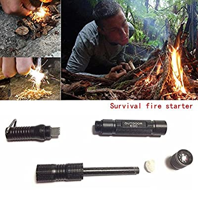 Enjoydeal Fire Starter, Magnesium SPARK Starter Aircraft Aluminum Emergency Survival Kit Camping Tool W Tactical Keychain Black by Enjoydeal