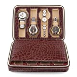 Amzdeal® Eight 8 Slot Zippered Luxury Jewelry Leatherette Crocodile Pattern Case ,Watch Display Case ,Watch Travel Case, Watch Box,Watch Storage Organizer Collector Case (Dark Red)