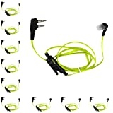 KENMAX 2 PIN Noodles Cable Earpiece Headset Green for Baofeng BF-F8HP UV-6R Wouxun KG-UV6D KG-UV899 (10 PACK) (Color: 4)Pack of 10)