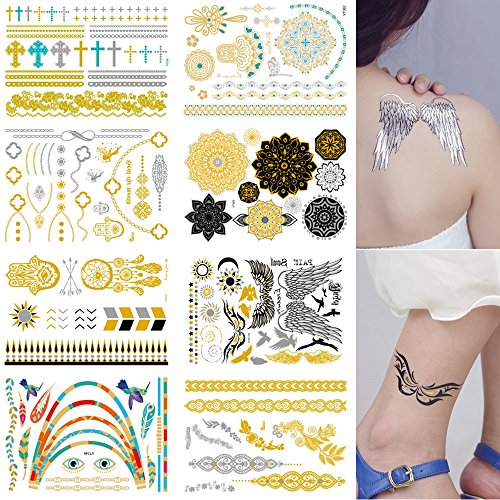 FashionTemporary Tattoos 8 Sheets Removable Waterproof Instant Temporary Fake Jewelry Tattoos,Body Art Sticker,Wrist & Arm Bands,Metallic Gold,Silver & Color Shimmer (Fake Robot Arm compare prices)