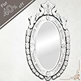 IndianShelf Handmade Decorative Vintage New Design Clear Glass Wood And Iron Oval Venetian Mirror 42.5 Inches...