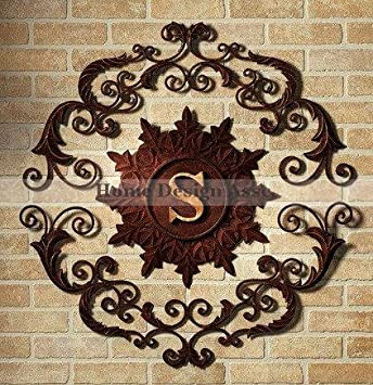 Stunning Lavish IRON SCROLL MONOGRAM Initial Letter Wall Grille Plaque Art Metal Outdoor