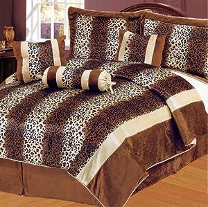 11Pcs Queen Leopard Brown Micro Fur Bed in a Bag Set