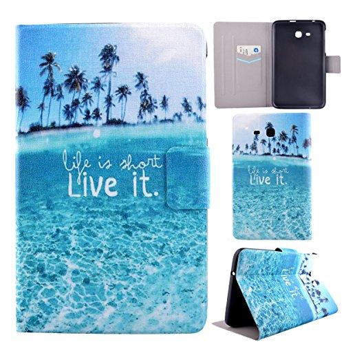 Galaxy Tab 3 Lite 7.0,Galaxy Tab 3 T111 SM-T110 Case,Asnlove custodia in pelle PU cover ultra sottile interne PC caso della prottetivo back cover funcione supporto e magnetica-Live it,mare