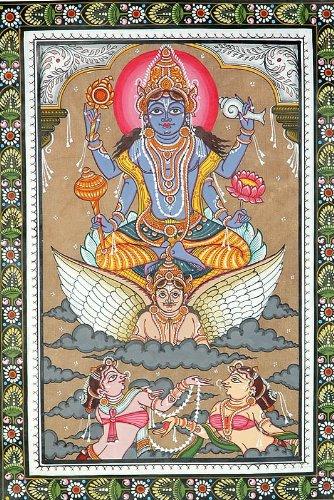 Lord Vishnu Sets out to Inspect the Universe – Patachitra Folk Art