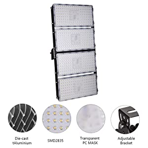 Viugreum 800W LED Flood Lights, Waterproof IP65 Outdoor Work Lights, 80000LM Warm White (2800-3000K) Security Floodlights, Outdoor Wall Landscape Lighting for Garden (800W Assembled by 2 pcs 400W) (Color: 800W Warm White, Tamaño: 1 Pack)