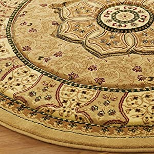 Think Rugs Heritage 4400 Traditional Hand Carved Round Rug, Beige, 150 x 150 Cm by Think Rugs