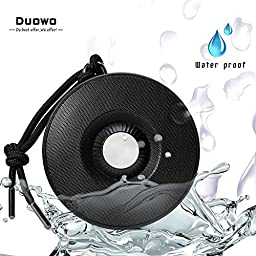 Bluetooth Speakers, Duowo Portable Wireless Waterproof Sports Speaker Built-in Mic with Climbing Hook Loop for Outdoor Travel, Portable Stream Radio Pairs with all Smartphones for Music & Fun (Black)