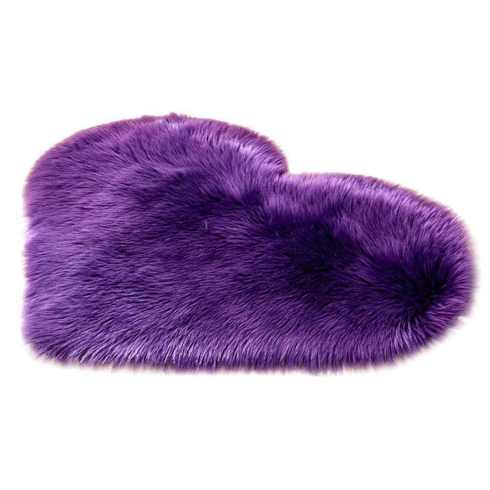 AOLVO Heart Carpet Microfiber Soft Fluffy Rug Heart Shaped Decoration Rug  Area Rug Kitchen Rug Pet ...