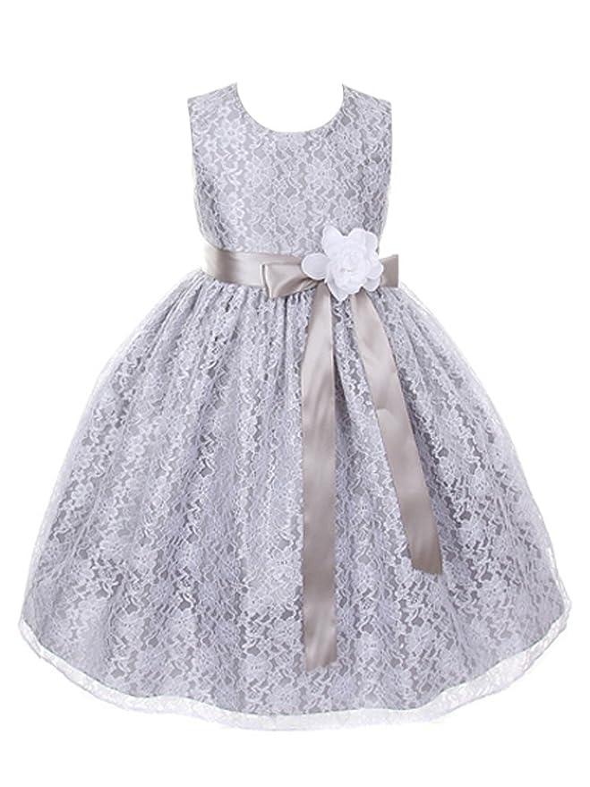 DressForLess Silver Elegant Lace Flower Girl Dress with Ribbon Sash