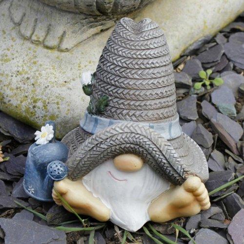 Unusual Mr Summer Hat Garden Gnome Ornament In Resin