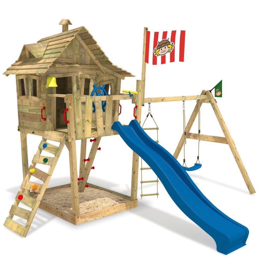WICKEY Spielturm Monkey Island Spielhaus Rutsche Schaukel Sandkasten (Rutsche: BLAU / Fahne: WICKINGER)