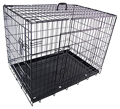 RayGar Dog Cage Kennel Puppy Cat Pet Crate Cage Carrier 2 Door Foldable