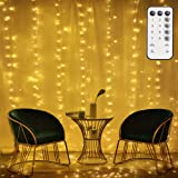 300 LEDs Low Voltage 6V String Curtain Lights, 9.8ft X 9.8ft Waterproof Outdoor Indoor Fairy Lights with 8 Modes for Decor, Wedding, Bedroom, Party Cafe, UL Listed,Warm White (6V) (Color: warm white, Tamaño: 9.8ft×9.8ft USB power)