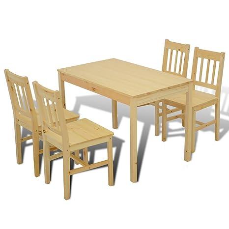Anself 5 teilige Essgruppe Kuchenset Holztisch mit 4 Suhlen Natur