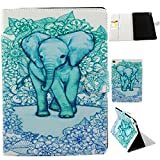 Green Elephant Case for Apple New iPad Air 2 6 6th Generation. Art Print Pattern Tablet Cases Cover Sleeve to Protect your Brand New iPad Air 2. Folding Folio Wallet Style with Internal Card Slots. TPU and PU Leather Smart Folding Folio iPad Case and Fli