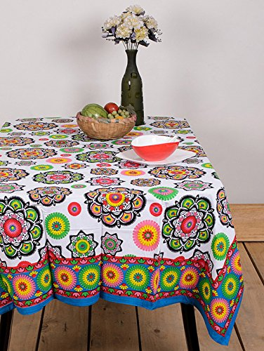 Table Cover Multi Color Flower 60 By 90 Inches Table Cloth Table Linen Cotton