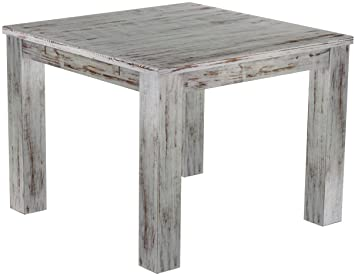 Brasil 'Rio' 100x 100cm Solid Pine Wood–Shabby Chic Oak Furniture Dining Table