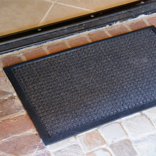 Rubber-Cal Nottingham Carpet Runner Floor Mat - 4 x 6 feet - Tan Carpet Mat