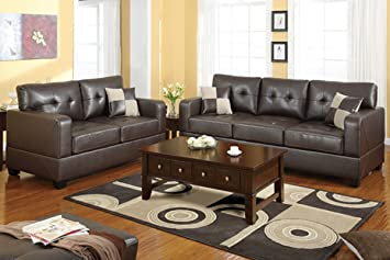2 pc Dark brown bonded leather match upholstered sofa and love seat set with square arms and tufted back