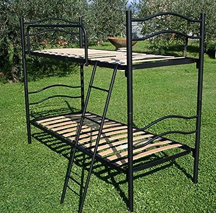 Letto a Castello completo di 2 materassi Scomponibile 2 posti con rete a doghe legno singolo 80x190 Struttura Ferro Colore Bianco