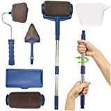 Paint Roller Brush Kit,MSDADA Paint Runner Pro Set with New Telescopic Rod, Paint Runner Pro,Wall Printing Brush,Multifunction House Paint Rollers Applicator for Painting Walls and Ceilings(Gray) (Color: Gray)