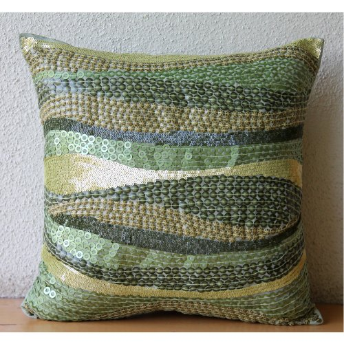 Eco Friendly - 16X16 Inches Square Decorative Throw Green Silk Pillow Covers Embellished With Textured Sequins front-1001404