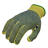 G and F 1670M Cut Resistant Work Gloves, 100-Percent Kevlar Knit Work Gloves, double-side PVC Dotted, Yellow, Medium, 1 Pair