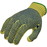 G and F 1670L Cut Resistant 100-Percent Kevlar Gloves with PVC Dots on Both Sides, Yellow, Large, 1-Pair