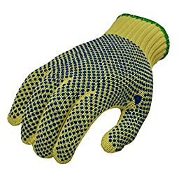 G and F 1670L Cut Resistant Work Gloves, 100-Percent Kevlar Knit Work Gloves, double-side PVC Dotted, Yellow, Large, 1 Pair