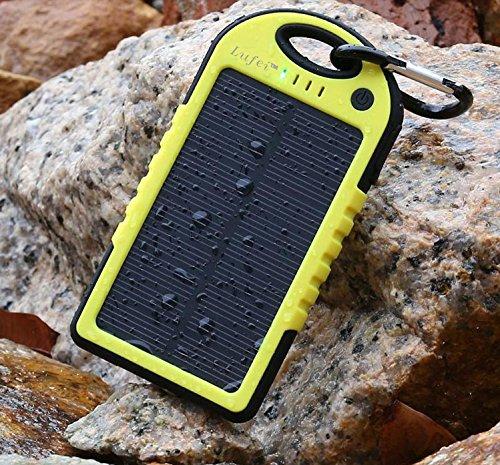 Lufei Solstar Solar Panel Dual USB Charger, 5000mAh, Yellow