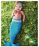 可愛い人魚 コスチューム 寝相アート マーメイド 衣装 着ぐるみ手編み感 ベビー服 ヘアバンド付き [並行輸入品] ランキングお取り寄せ