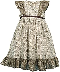 Euphoria Girls' Dress (SKU300F, Olive Green and Off-White, 3-4 Years)