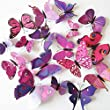 12pcs 3D Art Butterfly Decal Wall Sticker Home Decor Room Decoration (Multi)