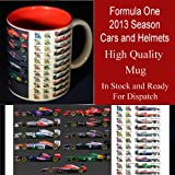 FORMULA ONE 2013 SEASON ALL 22 DRIVERS CARS AND HELMETS SOUVENIR DESIGNER MUG CUP HIGH QUALITY (UN SIGNED) DISHWASHER SAFE - JENSON BUTTON , LEWIS HAMILTON , FERNANDO ALONSO , MARK WEBBER , SEBASTIAN VETTEL , FELIPE MASSA PLUSE ALL THE OTHER 22 DRIVERS -