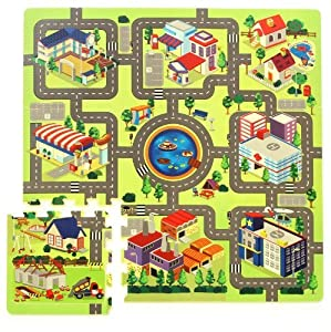 tapis puzzle circuit de route 934740412 jeux et jouets. Black Bedroom Furniture Sets. Home Design Ideas