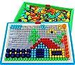 Vidatoy 296 Pcs Mushroom Nails Jigsaw Puzzle Game Creative Mosaic Pegboard Educational Toys (Random Colors)