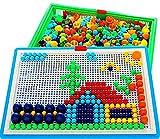 Vidatoy 296 Pcs Mushroom Nails Peg Puzzles Jigsaw Puzzle Creative Mosaic Pegboard Educational Toys (Random Colors)