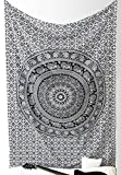 """New launched"" Popular Twin Black and White Hippie Elephant Mandala Tapestry Indian Traditional Beach Throw Wall Art College Dorm Bohemian Wall Hanging Boho Twin Bedspread By Popular Handicrafts"